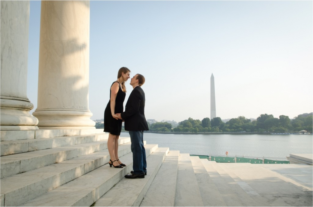 Jefferson Memorial Kiss Engagement Wedding